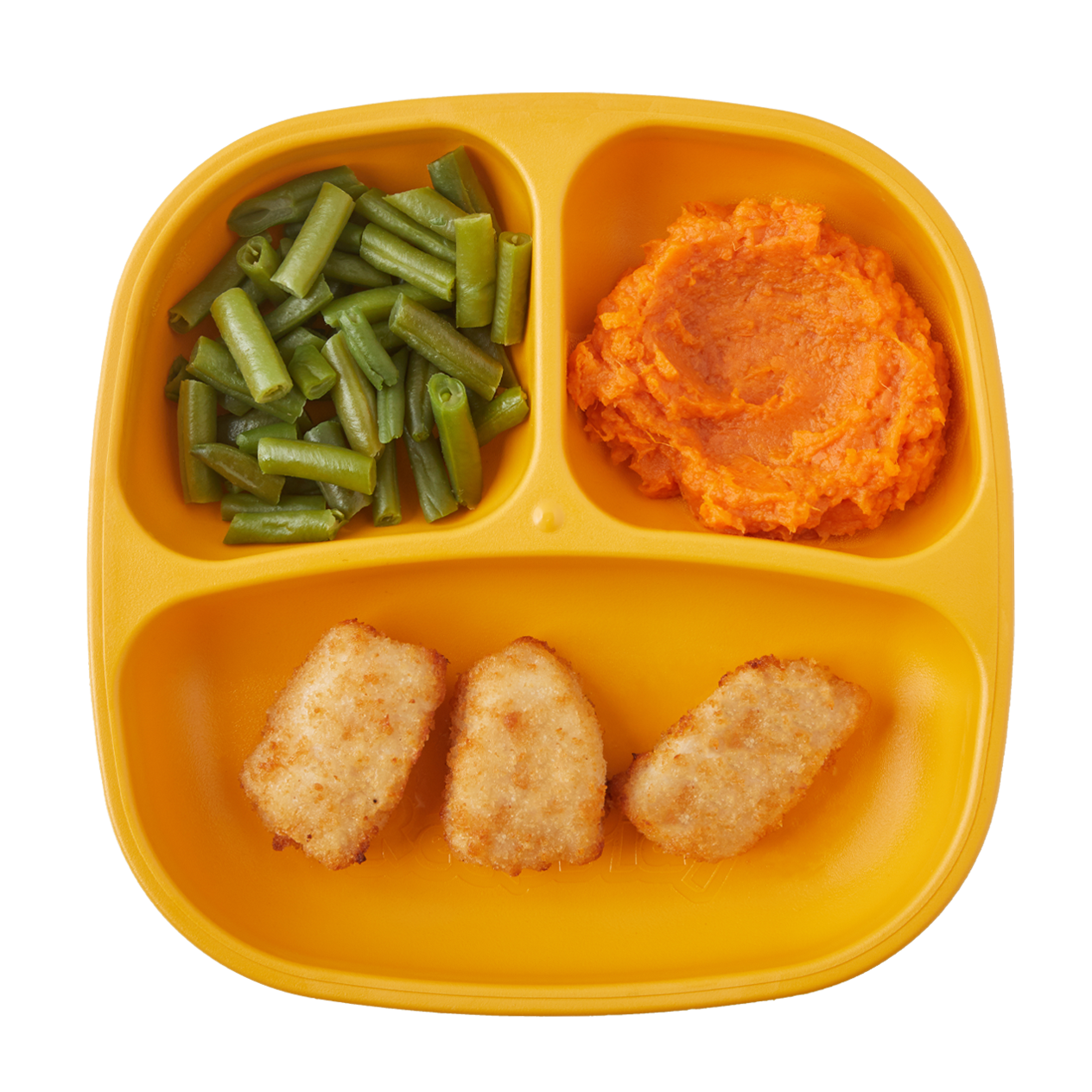 Chicken Bites with Mashed Sweet Potatoes & Green Beans